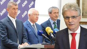 Kalouskův poslanec Pavera (TOP 09, vpravo) tvrdí, že lidé kvůli novým pravomocím ČNB obtížně dosáhnou na hypotéky. Exministr Babiš si to nemyslí.