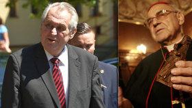Čeští biskupové oceňují návrh poslanců vyznamenat kardinála Vlka, prezident Zeman to ale odmítl.