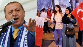 Turecký prezident Erdogan odsoudil blokádu Kataru, v Istanbulu lidé na podporu Katařanů demonstrovali.