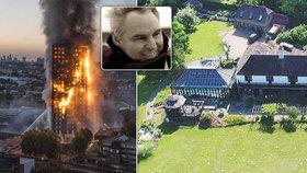 Muž zodpovědný za opláštění budovy v Londýně se skrývá ve svém luxusním sídle.