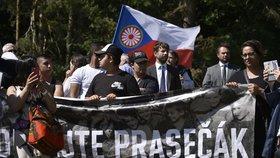 Stovky aktivistů z antirasistického hnutí žádaly v Letech odstranění vepřína