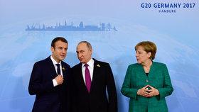 Jednání o Ukrajině v Hamburku: Macron, Merkelová a Putin se shodli na důležitosti příměří.