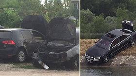 Lupiči v autě s českou SPZ přepadli slovenskou benzinku: Luxusní vůz pak utopili.