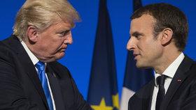 Americký prezident Donald Trump a francouzský prezident Emmanuel Macron