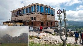 Stavba nové Petrovy boudy a požár té staré