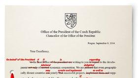 Dopis kancléře Vratislava Mynáře