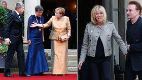 Angela Merkelová vyrazila s manželem na operu, Macronovi s Bonem z U2 řešili pomoc Africe.