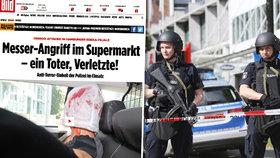 V německém Hamburku došlo k útoku v supermarketu, policie pachatele dopadla. Jeho fotku z policejního auta zveřejnil deník Bild