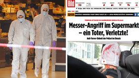 Útok v hamburském supermarketu: Bild zveřejnil fotku pachatele v policejním autě