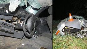Opilý mladík (19) bez řidičáku boural v autě bez technické a pojištění. Těžce zranil čtyři spolujezdce.