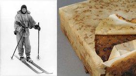 Zmrzlý ovocný koláč měl patřit výpravě Roberta Falcona Scotta na Antarktidu. Našli ho po 106 letech
