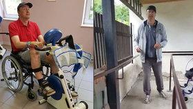 Hasič Robert dokázal po 14 dnech cvičení na domácí dráze udělat první samostatné kroky