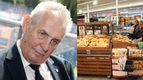 Prezident Miloš Zeman mluví o horentních maržích u pečiva, obchodníci jeho pohled odmítli.