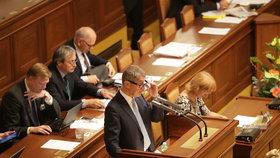 Šéf hnutí ANO Andrej Babiš požádal ve svém vystoupení poslance o vydání k trestnímu stíhání, Poslanecká sněmovna 6. září 2017