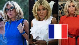 Brigitte Macronová během návštěvy Athén oblékla již všechny barvy z trikolóry.