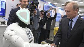 Robot se nadšeně vrhl k prezidentu Putinovi.