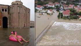 Zadar postihl nejhorší déšť za 30 let.