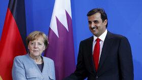 Angela Merkelová se sešla s katarským emírem Sáním.