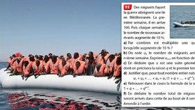 Francouzští středoškoláci v matematickém úkolu počítají migranty.
