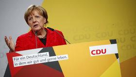 Angela Merkelová vystoupila před svými podporovateli ve Schwerinu.
