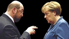 Martin Schulz versus Angela Merkelová