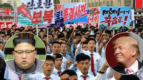 """""""Už tu moc dlouho nebudou,"""" prohlásil Trump o KLDR. Severní Korea uspořádala demonstraci proti USA"""