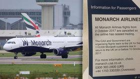 Letecká společnost Monarch Airlines končí.