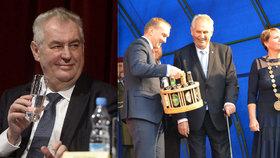 Miloš Zeman abstinent? Vodu prý pije častěji než dřív, z cest si však vozí i alkoholické dárky. A také výrazně zhubl.
