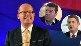 """Premiér Sobotka varoval před """"blázny a poloblázny"""" kvůli debatám o vystoupení Česka z EU, Mach ani Okamura nesouhlasí."""