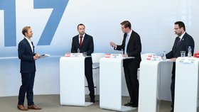 Debata Blesk Volební souboj 2017 na téma Život v Česku. Zleva: Daniel Pawlas (KSČM), Martin Kupka (ODS), Michal Kučera (TOP 09).