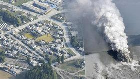 Výbuch sopky Šinmoedake v Japonsku