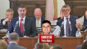 Ministr průmyslu Jiří Havlíček (ČSSD, vlevo) a šéf ANO Andrej Babiš v komentáři Petra Holce