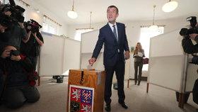 Volby 2017: Andrej Babiš volil v Průhonicích společně s manželkou Monikou.