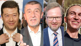 Zleva Tomio Okamura (SPD), Andrej Babiš (ANO), Petr Fiala (ODS) a Ivan Bartoš (Piráti) letos uspěli ve sněmovních volbách.