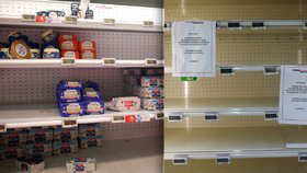 Francie zažívá nedostatek másla. Regály zejí prázdnotou.