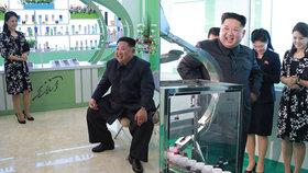 Kmi Čon-un se ženou navštívil kosmetickou firmu.