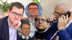 Šéfové nových poslaneckých klubů: Nováčci i matadoři. Zleva Chvojka, Fiala, Stanjura, Michálek či Faltýnek.