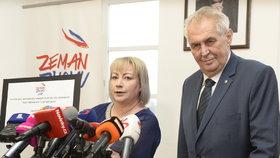 Manželka prezidenta Miloše Zemana dnes na ministerstvu vnitra předala podpisy lidí, kteří si žádají současnou hlavu státu v jeho vedení i v příštích letech.