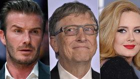 Jaké jsou výdělky slavných? Gates si během 24 hodin přijde na 205 milionů, Rowling bere víc než Adele či Elton John.