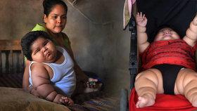 Desetiměsíční Luis Manuel Gonzales váží 28 kilogramů.