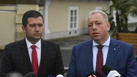 Milan Chovanec a Jan Hamáček coby delegace ČSSD v Lánech u prezidenta Zemana