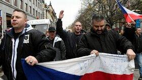 Účastníci průvodu Dělnické strany sociální spravedlnosti (DSSS) v pražské ulici Na Příkopě, kam vyrazili 17. listopadu z dolní části Václavského náměstí po shromáždění k výročí 17. listopadu 1989.