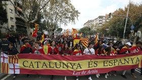 Protesty proti odtržení katalánského regionu