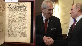 Putin daroval Česku vzácný tisk ze 17. století.