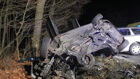 Při tragické nehodě zemřel mladý řidič. Žena se dvěma dětmi byla zraněna.