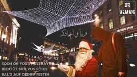 První z plakátů ukazuje svázaného Otce Vánoc s džihádistou.