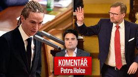 """Komentář: Sněmovna se mění v peklo, i když Fiala nemusel """"líbat prsten""""."""