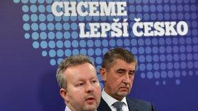 Brabec s Babišem po první poradě plánovaného menšinového kabinetu.