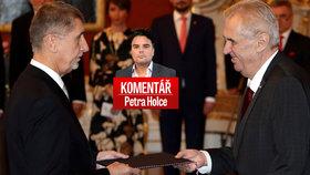 Premiér Andrej Babiš (ANO, vlevo) a prezident Miloš Zeman v komentáři Petra Holce