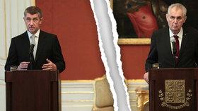 """Hrozí """"rozvod"""" silného politického dua? Babiš: Zeman rozděluje společnost"""